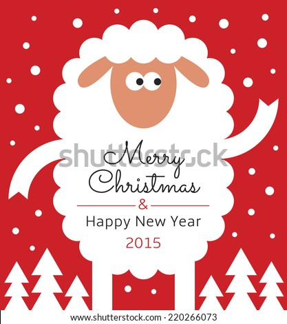Greeting Card with sheep Text Merry Christmas and Happy new year 2015