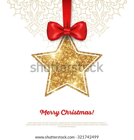 greeting card with shining gold