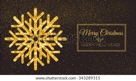 Greeting Card with shining snowflake. Vector illustration. Happy New Year, Merry Christmas, Seasons Greetings.
