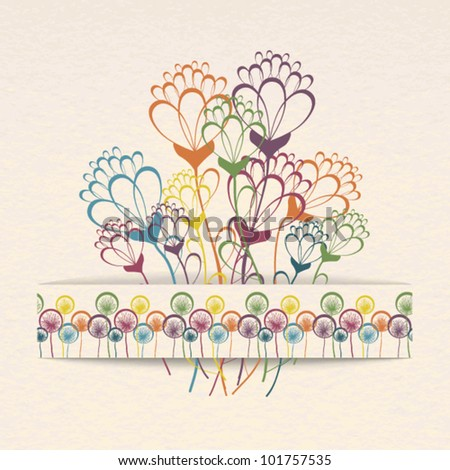 Greeting card with stylized flowers in a paper pocket