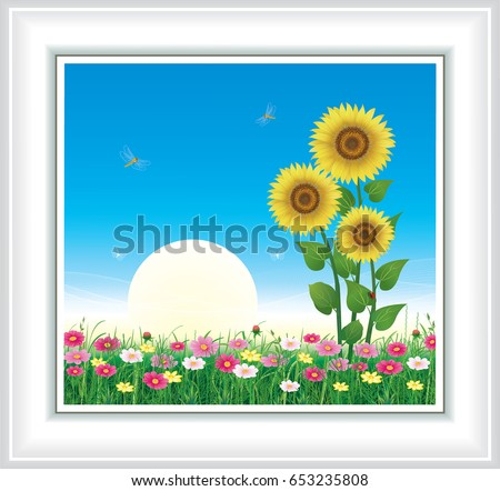 greeting card with sunflowers