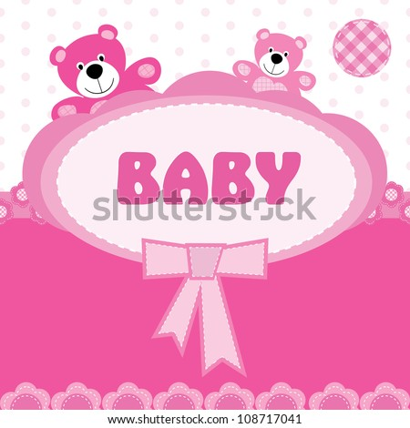 Greeting card with the birth of a baby girl - stock vector