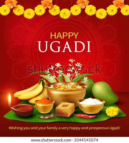 Greeting card with traditional food pachadi with all flavors for Indian New Year festival Ugadi (Gudi Padwa). Vector illustration.