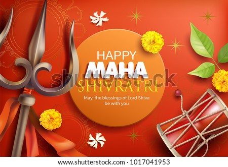 Greeting card with trishula, damru, bilva leaves, zendu and parijat flowers for Maha Shivratri, a Hindu festival celebrated of Shiva Lord. Vector illustration.Print