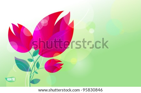 Greeting card with tulips. Suitable for March 8, or Mother's Day. Eps10 Vector.