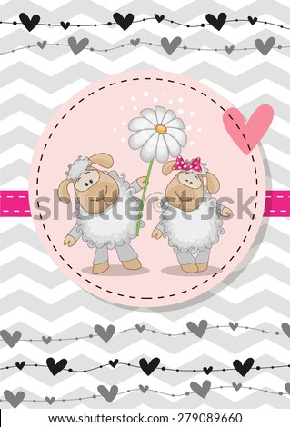 greeting card with two sheep in