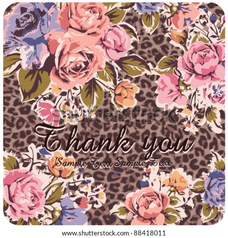Greeting Card with vintage roses on leopard background