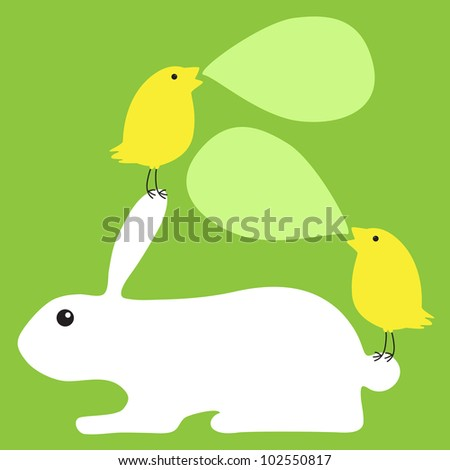 Greeting card with white bunny and two chickens sitting on his tail and ear