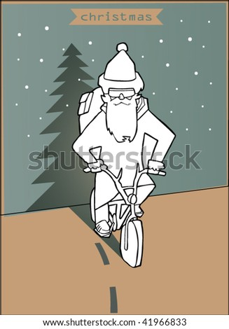 greeting card wits white paper santa claus