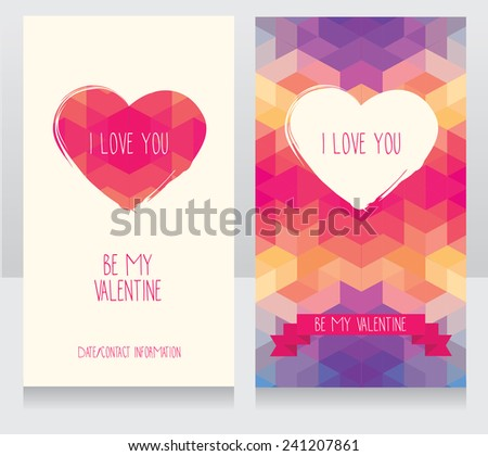 greeting cards for valentine's day invitation for valentine's day party cute hand drawn and geometric design vector illustration