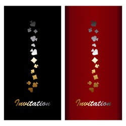 Greeting cards of standard European size. Invitation. On the red and black background, gold and silver symbols of playing cards.