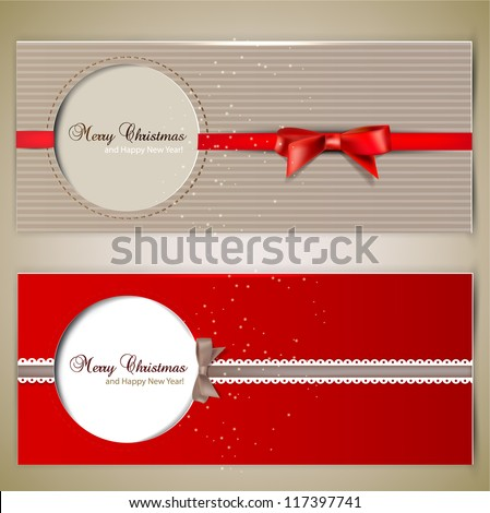 Greeting cards with  bows and copy space. Vector illustration