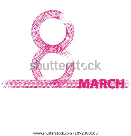 Greeting cards with line.International womans day . 8 march . Handwritten lettering typography