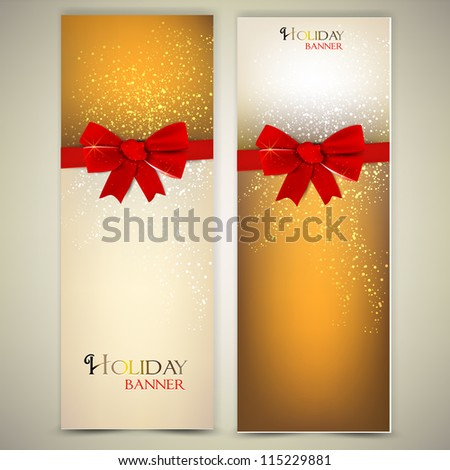 Greeting cards with red bows and copy space Vector illustration