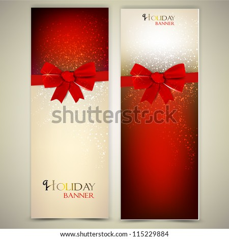 Greeting cards with red bows and copy space. Vector illustration - stock vector