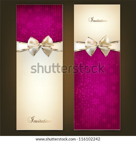 Greeting cards with white bows and copy space. Vector illustration - stock vector