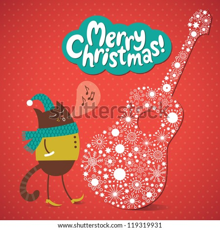 Greeting Christmas and New Year card, funny cat is singing a melody. Vector illustration on the red background.