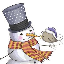 Greeting Christmas card Snowman and a bird