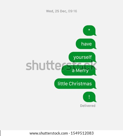 Greeting Christmas Card. Text messaging concept. Messages in a form of Christmas tree.  Vector Illustration.