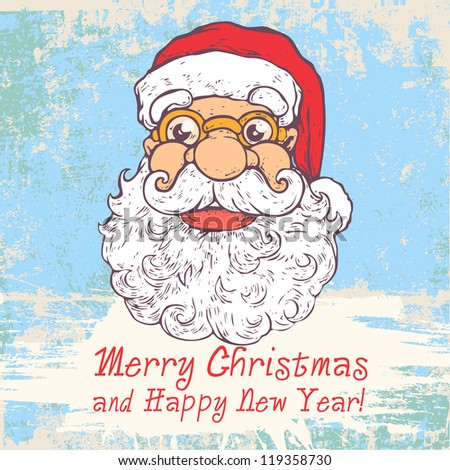 Greeting Christmas Card with Funny Santa and words Merry Christmas ...