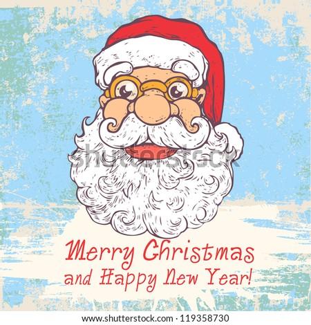 Greeting Christmas Card With Funny Santa And Words Merry Christmas – Words for Christmas Card
