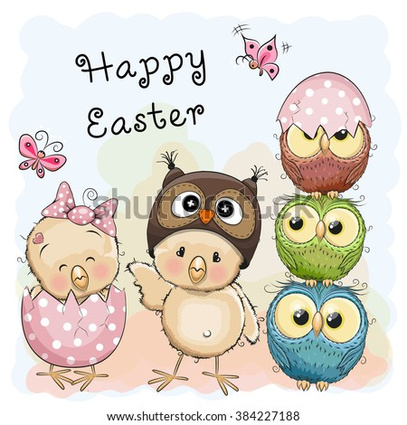 greeting easter card two chicks
