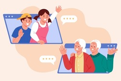 Greeting family via video call. Flat illustration of grandchildren meeting and saying hi to their grandparents online