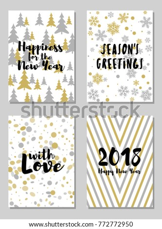 Greeting New Year cards vector templates set. Holiday postcards, banners graphic design collection with snow flakes. #772772950
