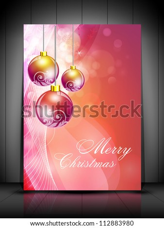 Greeting or gift card with snowflakes, evening balls and lights for Christmas. EPS 10.