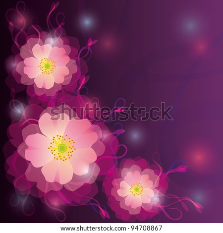 Greeting or invitation card with flowers and curls