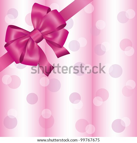 Greeting or invitation card with ribbon and bow, light pink background. Vector illustration