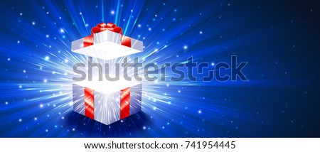 Greeting package with red bow knot. Open gift box with exploding firework of glitters and light rays. Vector banner, leaflet, flyer, greeting card for congratulations of Christmas, New Year, Birthday