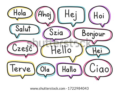 Greeting phrases in different languages. Handwritten lettering illustration. Black vector text in neon speech bubbles. Simple outline style Stock fotó ©
