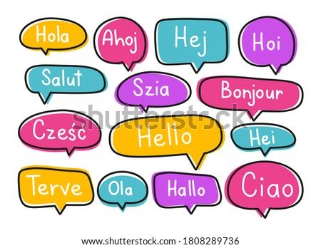 Greeting phrases in different languages. Handwritten lettering illustration. Black vector text in neon speech bubbles.  Stock fotó ©