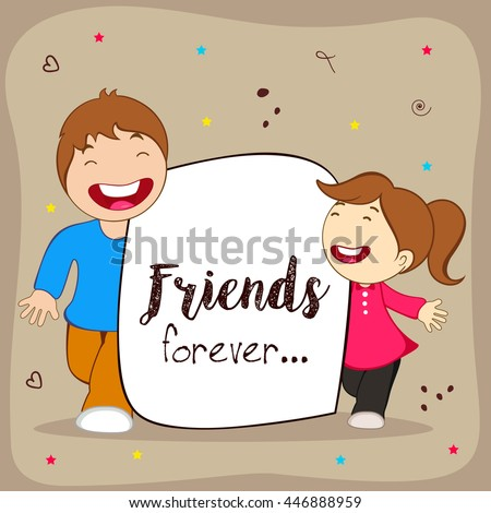 Greeting, Poster, Flyer or Card for Happy Friendship Day with Cute Friends, People or Kids wallpaper design on decorative background.
