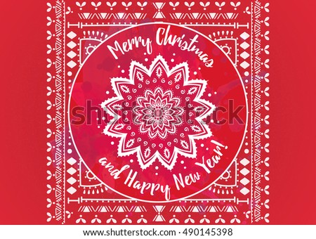 Islamic new year greeting in vintage style download free vector greeting red card happy new year and merry christmas mandala snowflake arabic and indian m4hsunfo