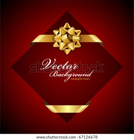 Greeting red card with gold bow