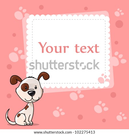 greeting tender baby card with cute dog, dots and traces