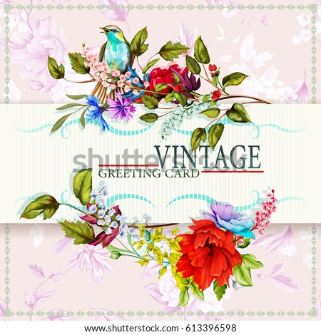 greeting vintage card with