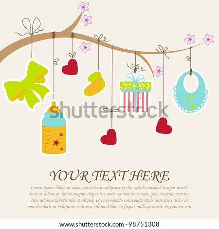 Greeting with a baby elements. Vector illustration.