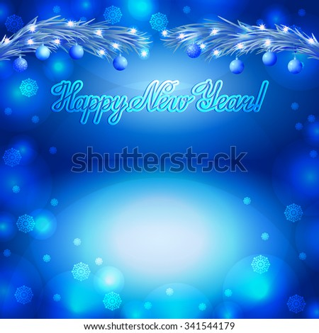 Greeting with Christmas tree branch on blue background