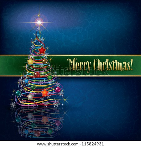 greeting with Christmas tree on blue grunge background