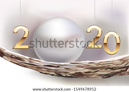 Greetings card 2020 chic and refined presenting an oyster shell and the pure beauty of its cultured pearl.