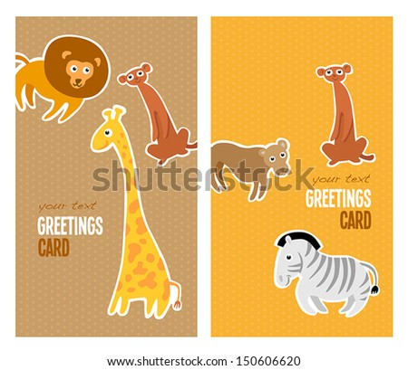 Greetings cards with pictures of cheerful animals.