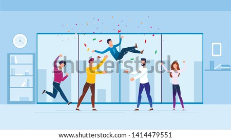 Greetings from Employees Vector Illustration. Stormy Expression Joy at Work. Men throw Colleague up and throw Candy. Celebrating Events at Work with Friends. Horizontal Cartoon Flat.