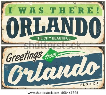 Greetings from Orlando Florida vintage signboard design