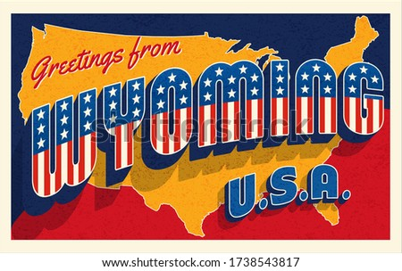 Greetings from Wyoming USA. Retro postcard with patriotic stars and stripes lettering and United States map in the background. Vector illustration. ストックフォト ©