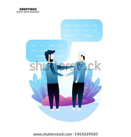 Greetings  islamic vector illustration, islamic illustration, people illustration