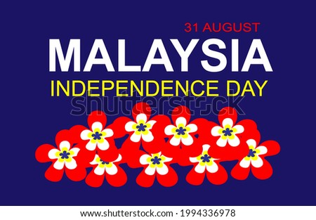 Greetings 31st August Malaysia Independence day with decoration of plumeria flower in Malaysia's color flag. Photo stock ©