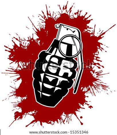 Grenade with splattered blood - stock vector